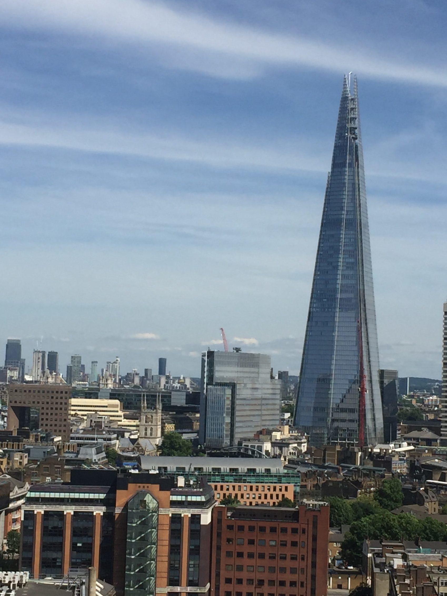 View of London with the Shard dominating the scene.