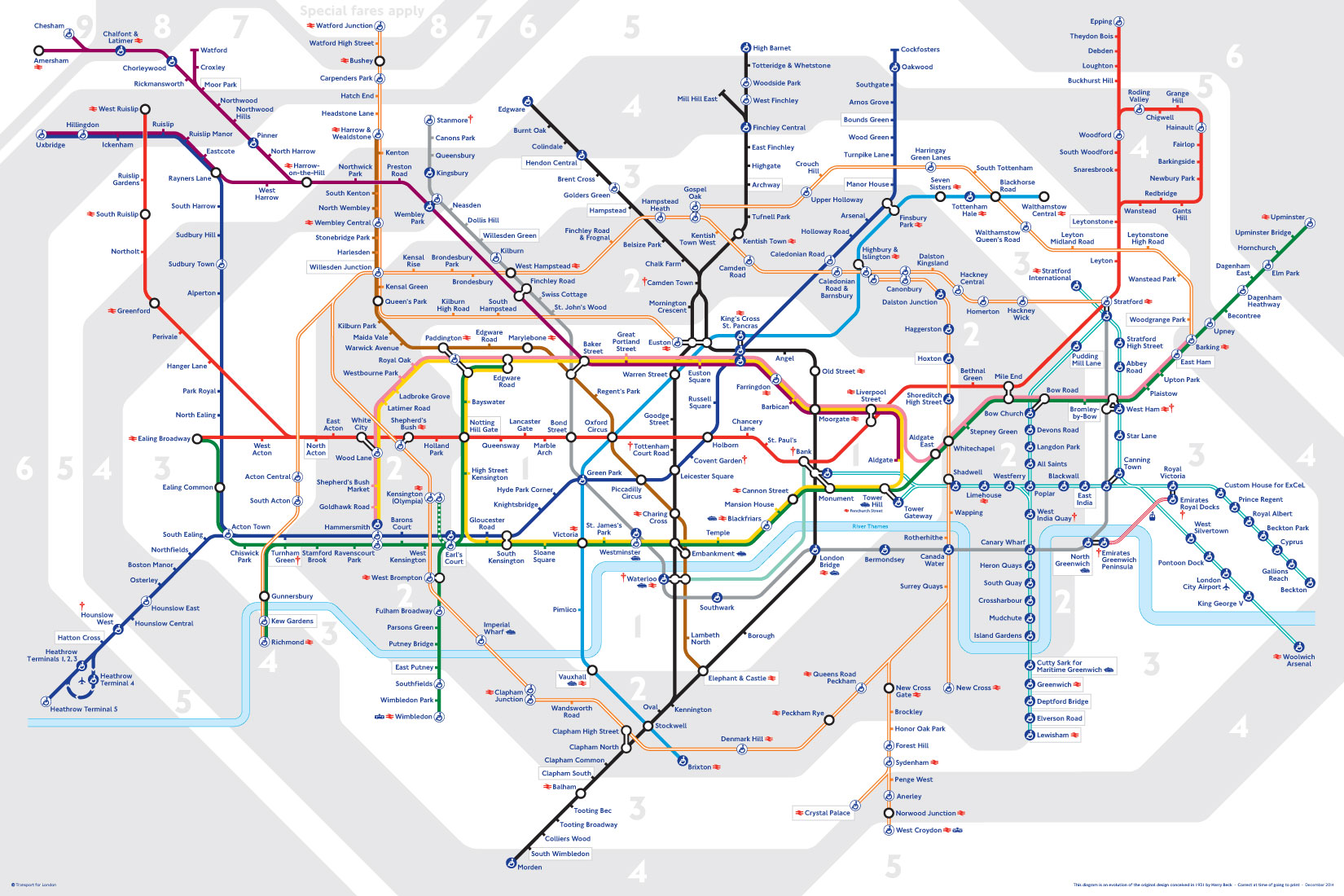 Image of a map of the London Underground tube